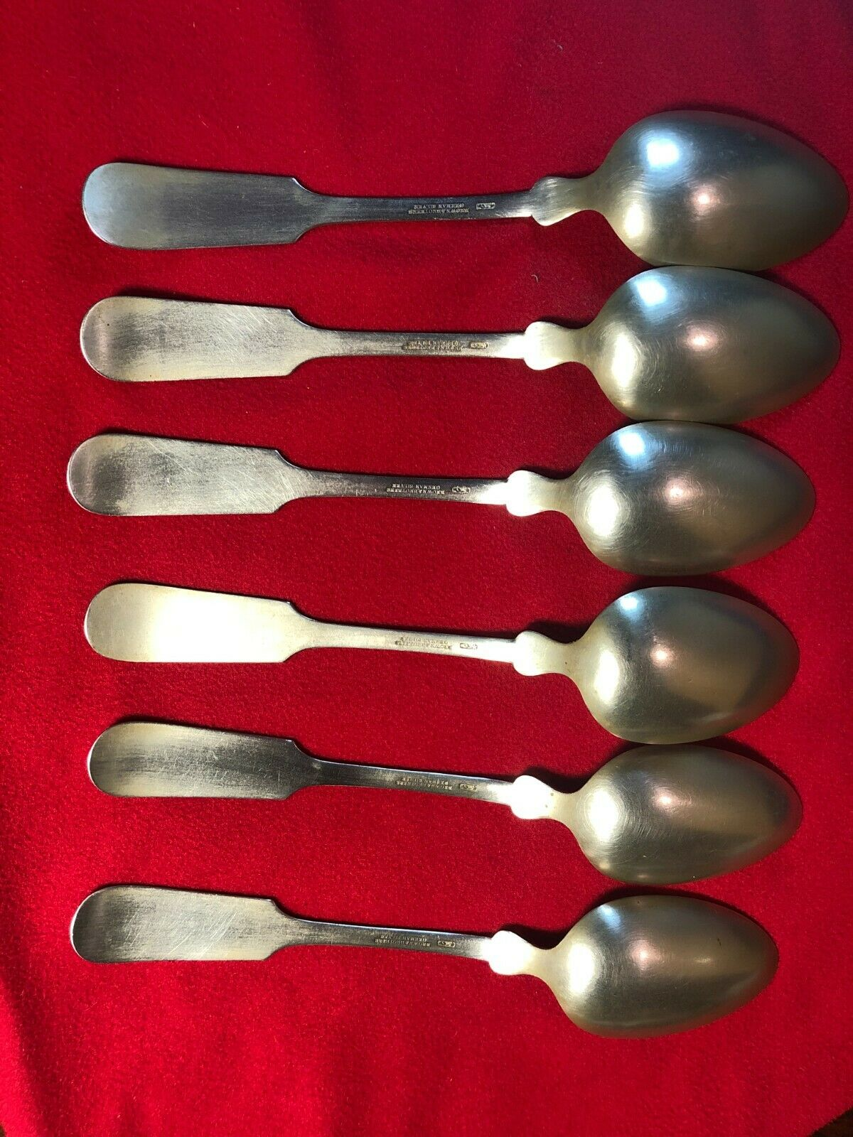 Vintage 6 Antique Brown And Brothers German Silver Spoons - $25.99