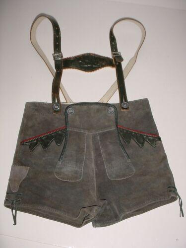 """Vintage Lederhosen Gray Suede Shorts Navy Trim & Suspenders - 25"""" Waist"""