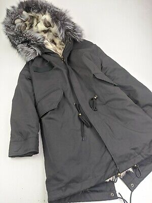 Mr & Mrs Italy FOX FUR LINED M65 Military Style Parka Black White Sz L