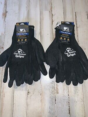 4 Pair Pack Wells Lamont Cold Weather Grips Latex Coated Work Gloves Large Black