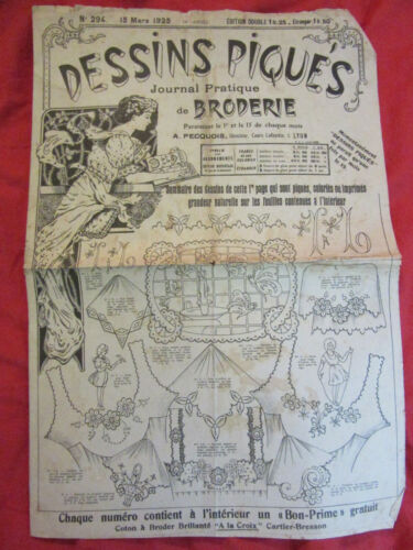 Antique french magazine diary Stitched Embroidery patterns sewing monogram 1925