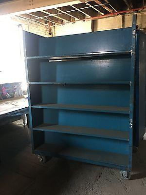 Dark Blue Double Sided Rolling Shelf Carts