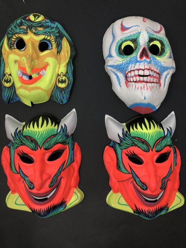 4x  Vintage Zest Soap Store Halloween Masks Devil Witch Skull