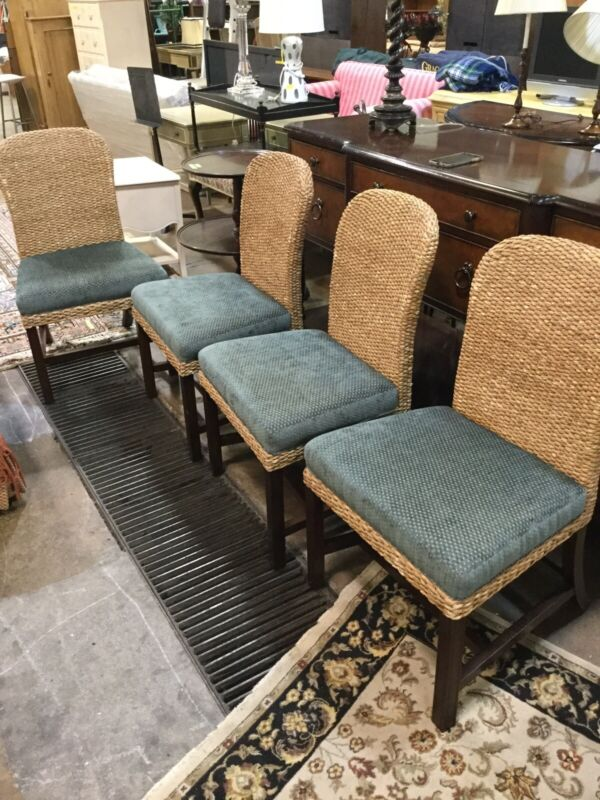 Set of 4 BAKER MILLING ROAD Dining Chairs Woven Rope Raffia
