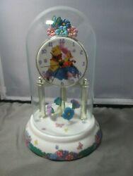 DISNEY ANNIVERSARY DESK CLOCK - Winnie the Pooh GLASS DOME Eeyore Piglet
