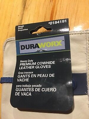 Duraworx Heavy-duty Premium Cowhide Leather Work Gloves Small Size Ball And Tape