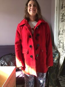 Red wool winter coat