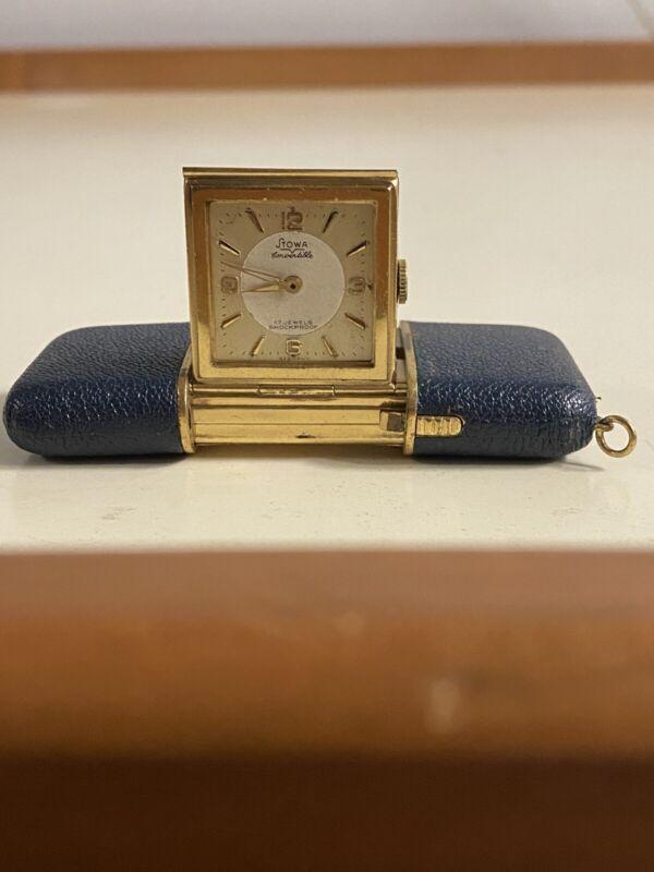 WORKING Vintage Stowa Mini Mechanical Travel Clock 17 Jewels Germany