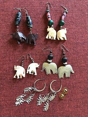 Elephants ~ Costume Jewelry ~ 5 Pair of Pierced Earrings ~ Very Good Used Cond.