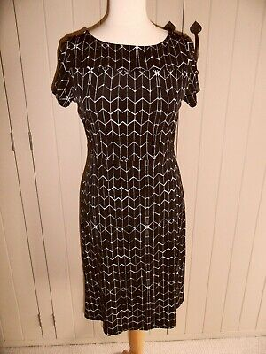Ivanka Trump fit and flare black & white jersey dress small