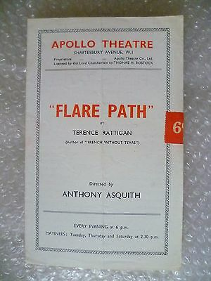 Apollo theatre Programme FLARE PATH- Ivan Samson,Dora Gregory,Anthony Asquith