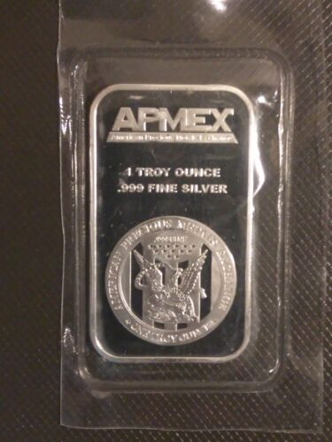 APMEX 1 oz Silver Bar .999 Fine Silver NEW SEALED in Plastic TROY OUNCE 1oz