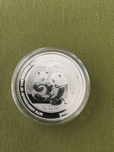 2009 30th Anniversary Chinese Silver Panda - Uncirculated - 1 OZ. COIN & Capsule