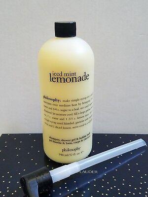 - Philosophy Iced Mint Lemonade Shampoo, Shower Gel AND Bubble Bath 32 oz New