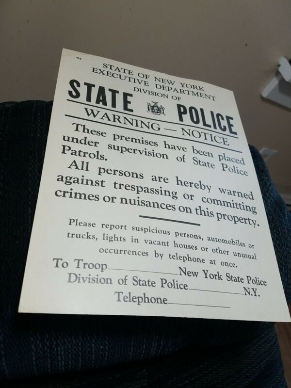 New York State Police Warning Notice Poster Vintage Rare Unique HTF  -Nice!
