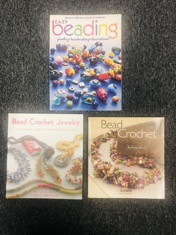 LOT OF 3 ~ Bead Crochet Jewelry Making Beading Design How To Paperback Books