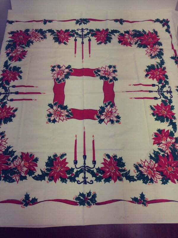 """Vintage Christmas Table Cloth Bells & Holly 48"""" x 44"""""""