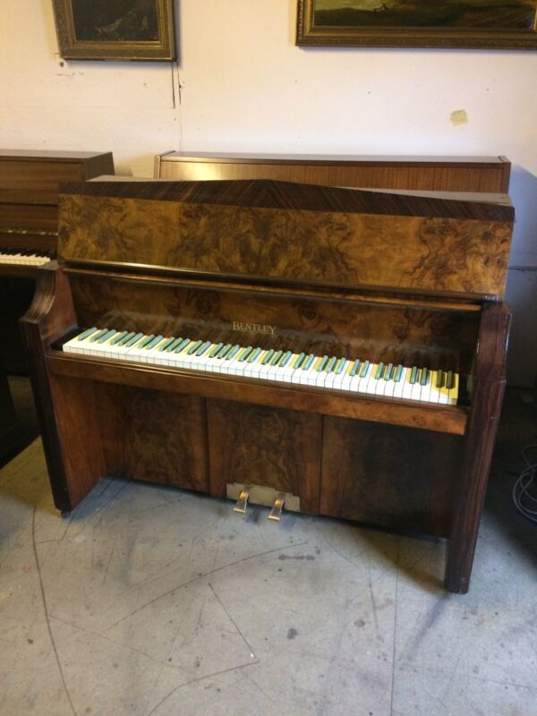 C1937 Walnut Art Deco Piano With Green Keys! Free Delivery In Essex