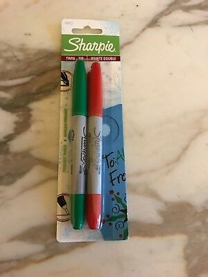 Sharpie Twin-tip Permanent Markers Green And Red Ink Holiday 2 Pack