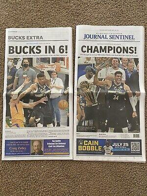 Milwaukee Journal 7/21/21 Milwaukee Bucks Champions Newspaper Day After They Won