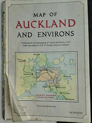 1962 LARGE MAP ~ NEW ZEALAND NORTH ISLAND AUCKLAND AND ENVIRONS