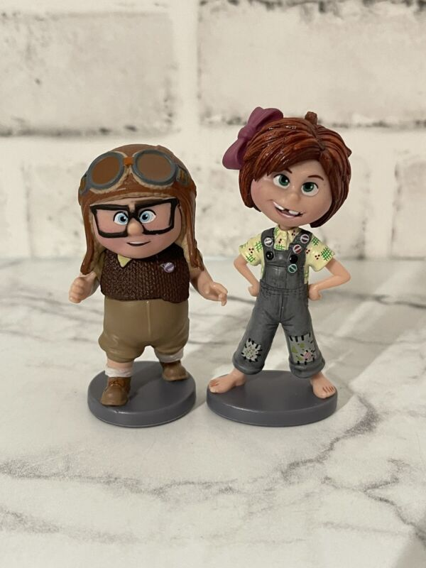 """Young Carl and Ellie Up Disney Pixar 2 1/2"""" PVC Figures Cake Toppers Kid"""