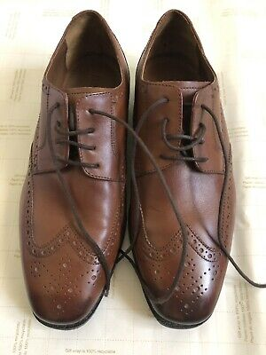 Pre-owned Florsheim Castellano Wingtip Oxfords In Saddle Tan Shoes Size 8 3E (Florsheim Saddle Shoes)