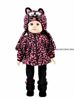 Pink Kitty Cat Leopard Pant Set + Hat 18 in Doll Clothes Fits American Girl Kitty Cat Pant