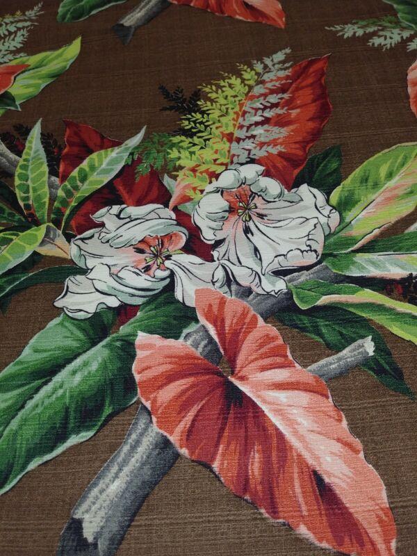 "Large Vintage Barkcloth Drapery Panel, Pattern- Caracus, 133"" W x 94"" L!!!!"