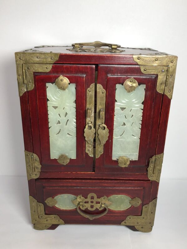 Vintage Chinese Wood, Brass & Carved Jade Panel Jewelry Box 4 Drawer Chest. 9.6""