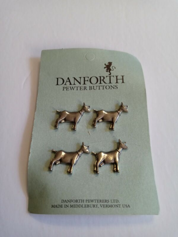 SET OF 4 DANFORTH PEWTER GOAT BUTTONS NEW