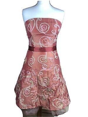 Jessica McClintock Embroidered Strapless Dress Embellished Tulle Hem Orange UK 8
