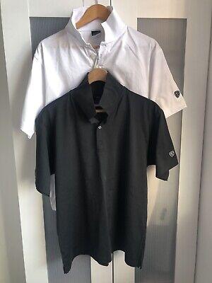 2x Mens Nike Golf Polo Shirt Dri Fit Black White Collared Top T-Shirt Pair B&W