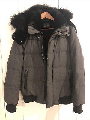 Yves Salomon Homme 48 Mens Rabbit Lined Leather Wool Down Filled Bomber Coat