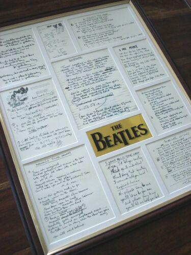 THE BEATLES ORIGINAL HANDWRITTEN FRAMED LYRICS DISPLAY MONTAGE # 1