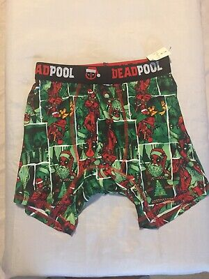 NWOT Marvel Comics Deadpool Christmas Santa Claus Boxer Briefs Underwear S