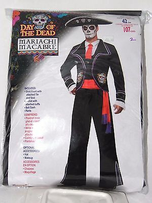 Size 42 Men's Black Day of the Dead Mariachi Tuxedo Cosplay Halloween Costume  ](Tuxedo Mask Halloween)