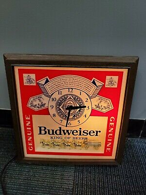 Vintage 80's Budweiser King of Beers Lighted Sign Clock