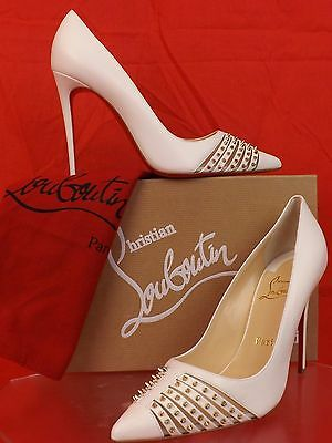 NIB LOUBOUTIN BARETA NEIGE LEATHER GOLD TONE STUDDED SPIKES CLASSIC PUMPS 39