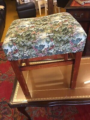 Dark Oak Reproduction Stool With Tapestry Seat