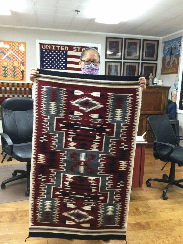 """Ancita Begay, Navajo Handwoven Rug, Storm Pattern, Ganado Red Colors, 42"""" x 29"""""""