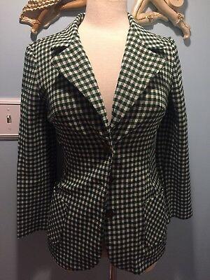 Vintage 70's Polyster Green Check Blazer Jacket Xs