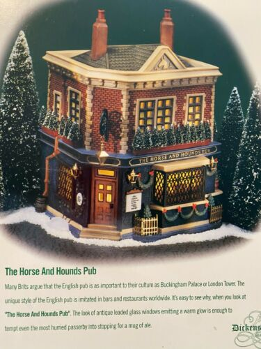 Dept 56 DICKENS Christmas Village HORSE & HOUNDS PUB~Lighted Building