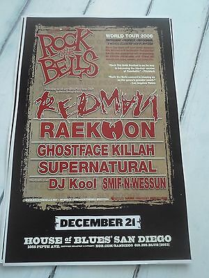"ROCK THE BELLS Concert Poster REDMAN RAEKWON San Diego House of Blues 11""x17"""