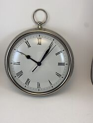 Pottery Barn Pocket Watch Style Wall Clock Nickel Finish