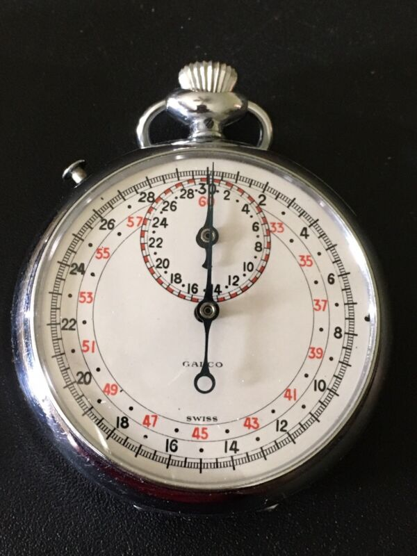 Vintage Swiss Made Galco Mechanical Wind Up Stopwatch - Works