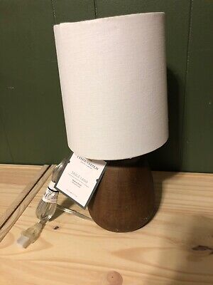 NWT Faux Wood Table Lamp Walnut Finish/ White Shade - Threshold ( Has Some Flaws Faux Finish Table