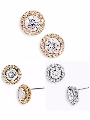 Nadri Cubic Zirconia Round Framed Halo Stud Earrings,Rose Gold,Gold,Silver, $38 Framed Quartz Earrings