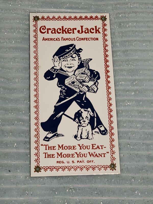 Vintage Cracker Jack Sign porcelain enamel The More You Eat - The More You Want
