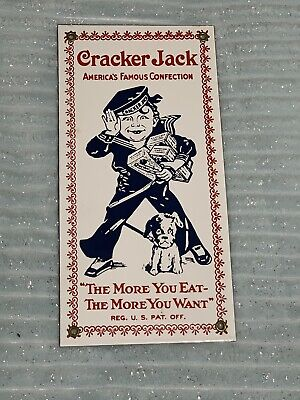 Vintage Cracker Jack Sign porcelain enamel The More You Eat - The More You Want